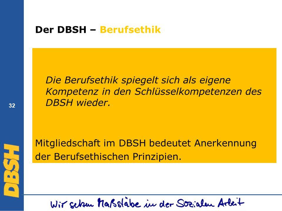 32 Der DBSH – Berufsethik Die Berufsethik spiegelt sich als eigene Kompetenz in den Schlüsselkompetenzen des DBSH wieder. Mitgliedschaft im DBSH bedeu