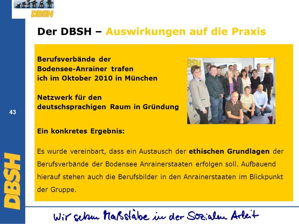 43 Der DBSH – Auswirkungen auf die Praxis Berufsverbände der Bodensee-Anrainer trafen ich im Oktober 2010 in München Netzwerk für den deutschsprachige