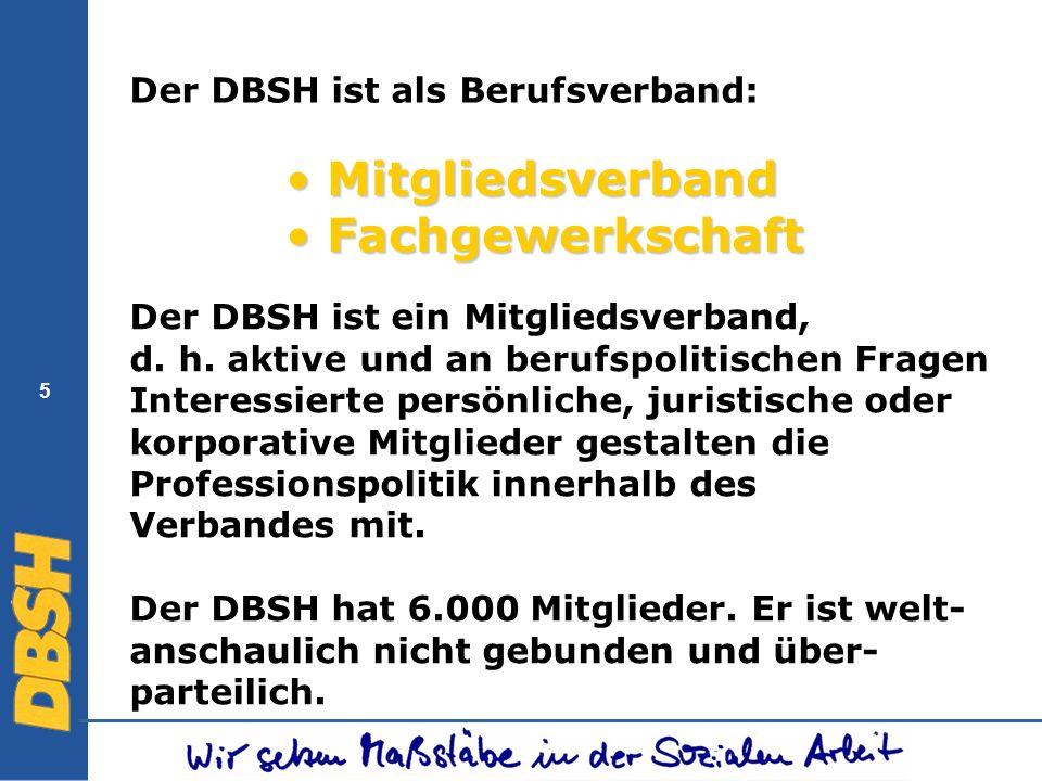 5 Mitgliedsverband Mitgliedsverband Fachgewerkschaft Fachgewerkschaft Der DBSH ist ein Mitgliedsverband, d. h. aktive und an berufspolitischen Fragen