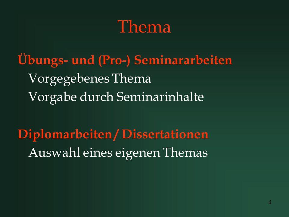 4 Thema Übungs- und (Pro-) Seminararbeiten Vorgegebenes Thema Vorgabe durch Seminarinhalte Diplomarbeiten / Dissertationen Auswahl eines eigenen Thema