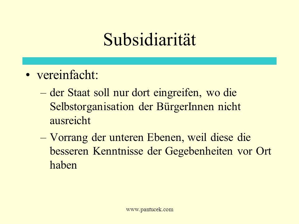 www.pantucek.com Subsidiarität vereinfacht: –der Staat soll nur dort eingreifen, wo die Selbstorganisation der BürgerInnen nicht ausreicht –Vorrang de