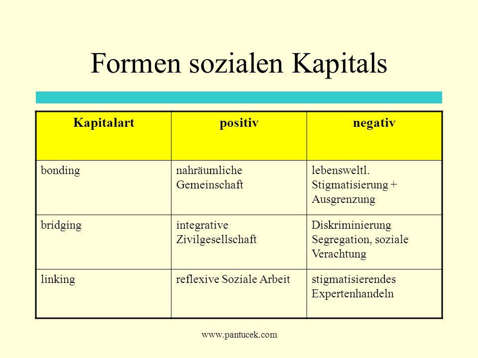 www.pantucek.com Formen sozialen Kapitals Kapitalartpositivnegativ bondingnahräumliche Gemeinschaft lebensweltl. Stigmatisierung + Ausgrenzung bridgin