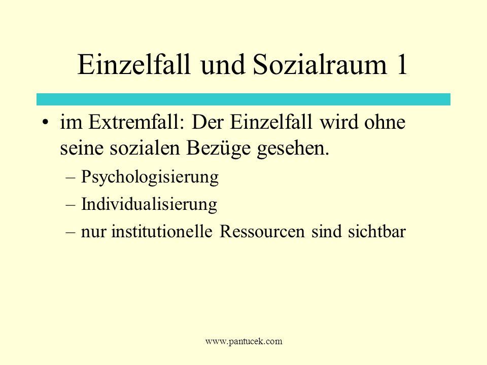 www.pantucek.com Einzelfall und Sozialraum 1 im Extremfall: Der Einzelfall wird ohne seine sozialen Bezüge gesehen. –Psychologisierung –Individualisie