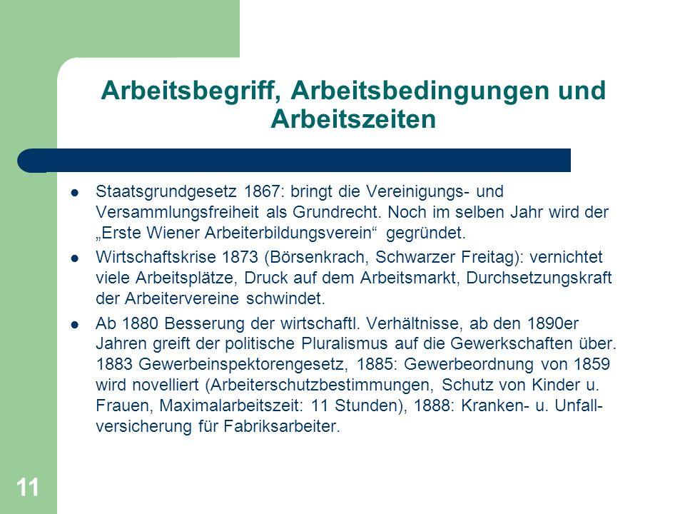 11 Arbeitsbegriff, Arbeitsbedingungen und Arbeitszeiten Staatsgrundgesetz 1867: bringt die Vereinigungs- und Versammlungsfreiheit als Grundrecht. Noch