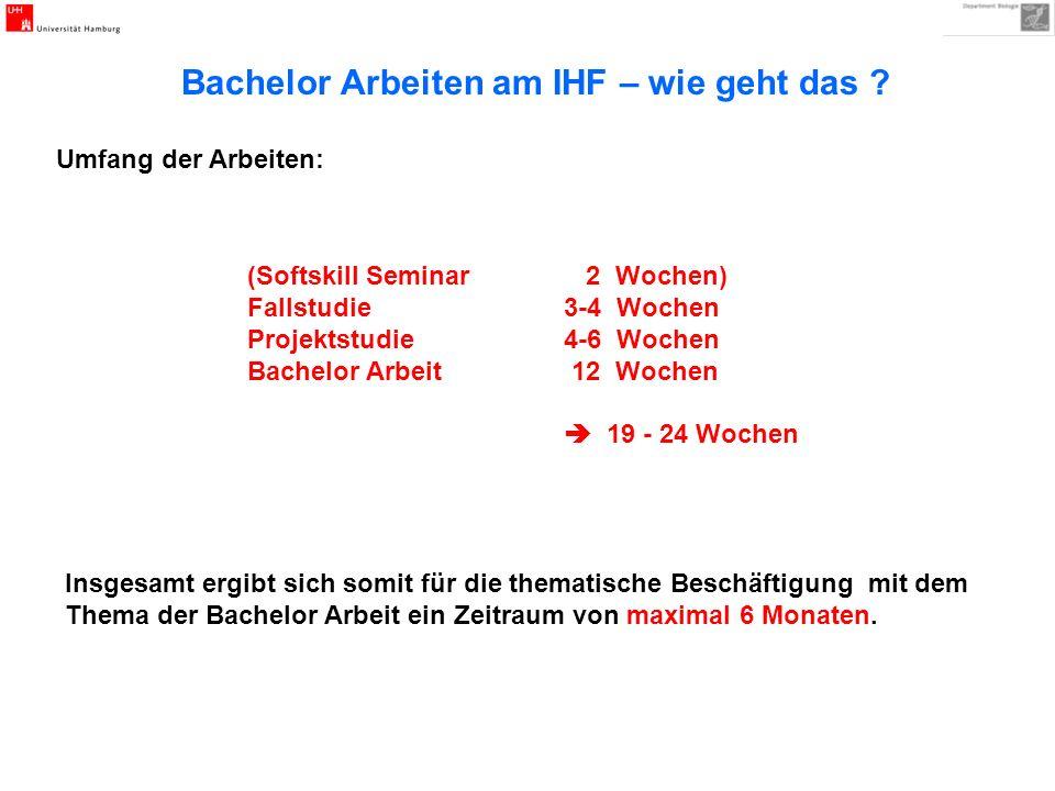 (Softskill Seminar 2 Wochen) Fallstudie 3-4 Wochen Projektstudie 4-6 Wochen Bachelor Arbeit 12 Wochen 19 - 24 Wochen Insgesamt ergibt sich somit für d