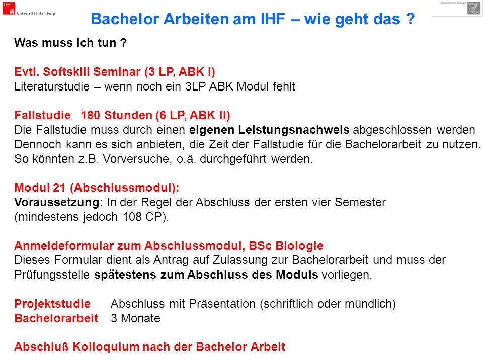 Bachelor Arbeiten am IHF Themen – Vorschläge Nummer des Themas