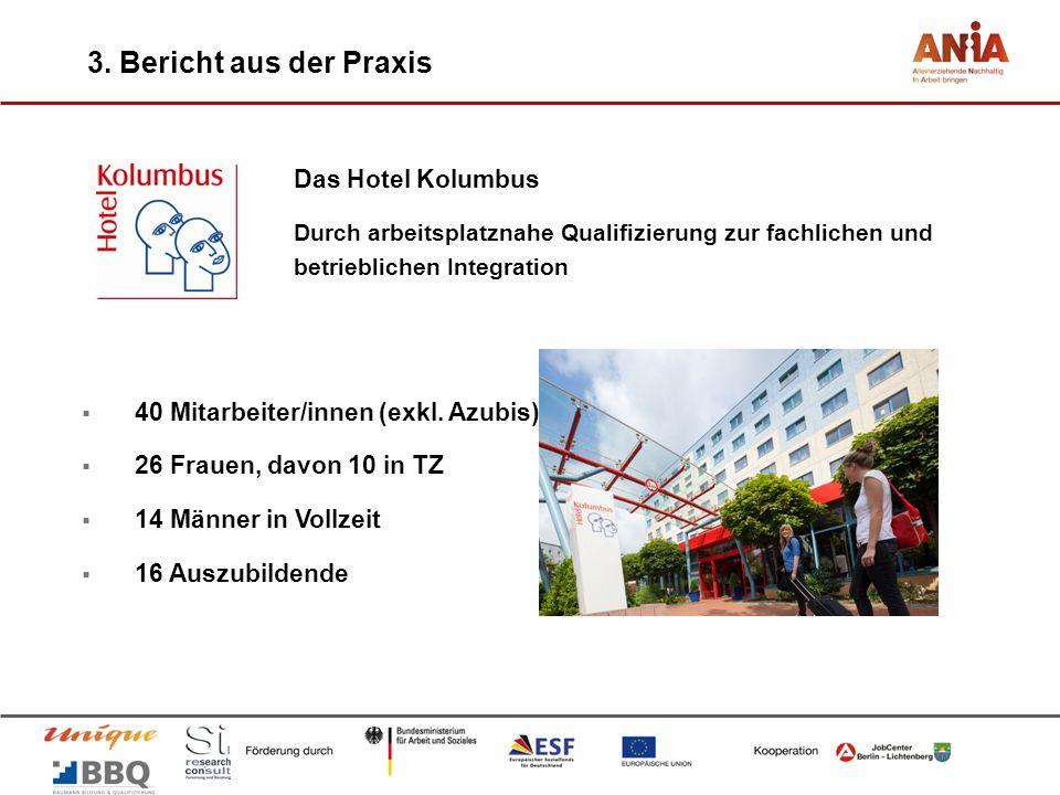 3. Bericht aus der Praxis Das Hotel Kolumbus Durch arbeitsplatznahe Qualifizierung zur fachlichen und betrieblichen Integration 40 Mitarbeiter/innen (