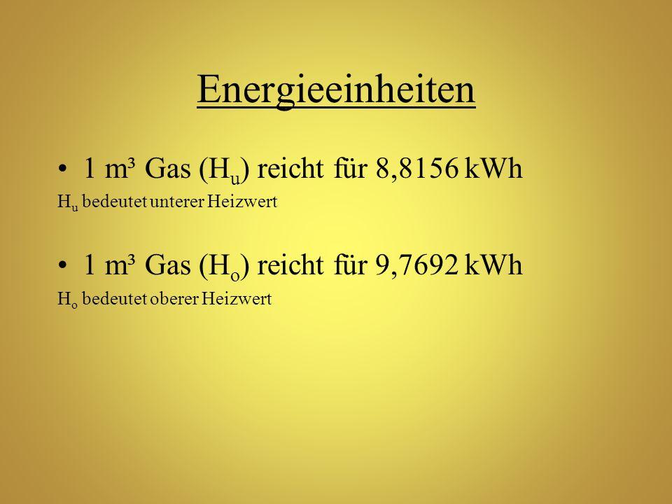 Energieeinheiten 1 m³ Gas (H u ) reicht für 8,8156 kWh H u bedeutet unterer Heizwert 1 m³ Gas (H o ) reicht für 9,7692 kWh H o bedeutet oberer Heizwer