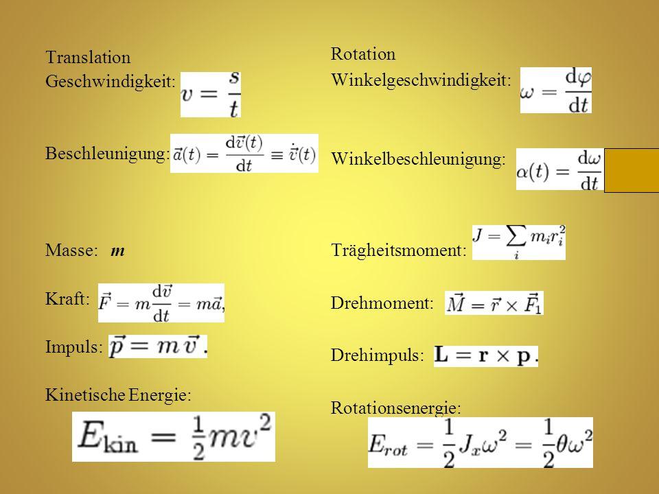 Translation Geschwindigkeit: Beschleunigung: Masse: m Kraft: Impuls: Kinetische Energie: Rotation Winkelgeschwindigkeit: Winkelbeschleunigung: Träghei