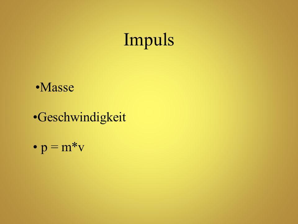 Impuls Masse Geschwindigkeit p = m*v