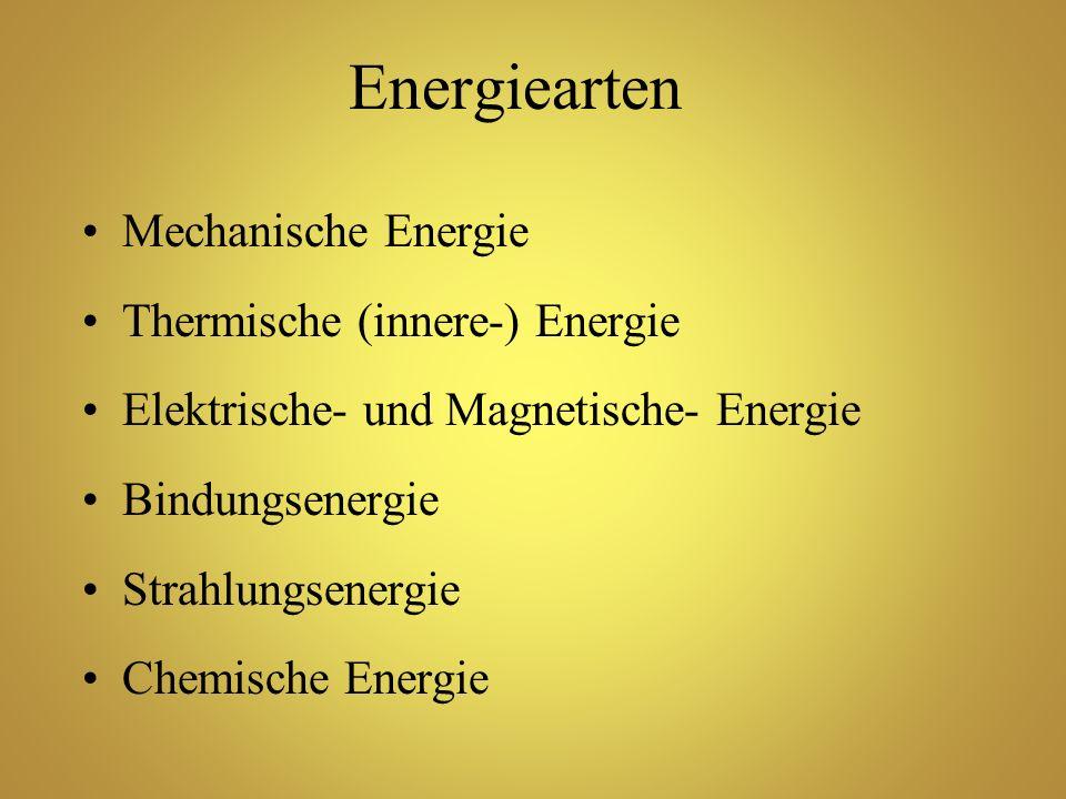 Energiearten Mechanische Energie Thermische (innere-) Energie Elektrische- und Magnetische- Energie Bindungsenergie Strahlungsenergie Chemische Energi