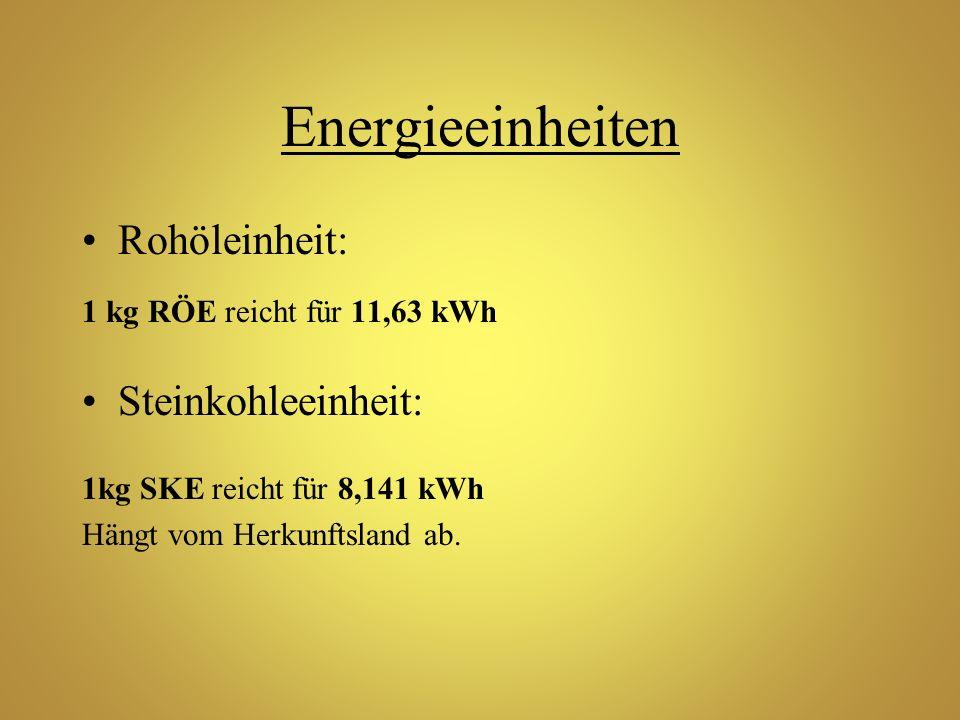 Energieeinheiten Rohöleinheit: 1 kg RÖE reicht für 11,63 kWh Steinkohleeinheit: 1kg SKE reicht für 8,141 kWh Hängt vom Herkunftsland ab.