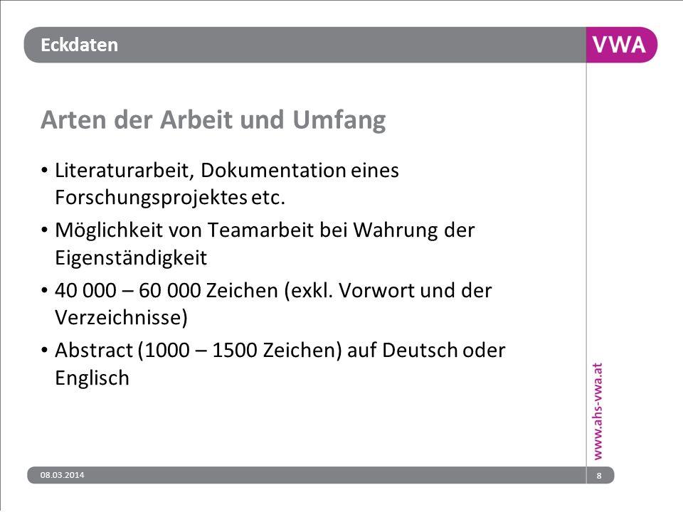 08.03.201419 Quellen Informationsplattform http://www.ahs-vwa.at/ Gesetzestext http://www.bmukk.gv.at/medienpool/19465/schug_nov_2010.pdf Verordnungsentwurf http://www.bmukk.gv.at/schulen/recht/erk/vo_rp_ahs.xml Verordnungsentwurf – Erläuterungen http://www.bmukk.gv.at/medienpool/21912/vo_rp_mat.pdf Handreichung http://www.bmukk.gv.at/medienpool/20130/reifepruefung_ahs_vwa.pdf