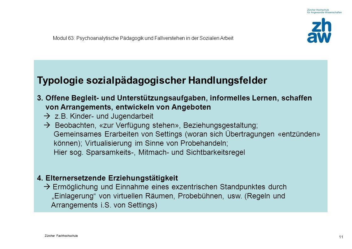 Zürcher Fachhochschule 11 Modul 63: Psychoanalytische Pädagogik und Fallverstehen in der Sozialen Arbeit Typologie sozialpädagogischer Handlungsfelder