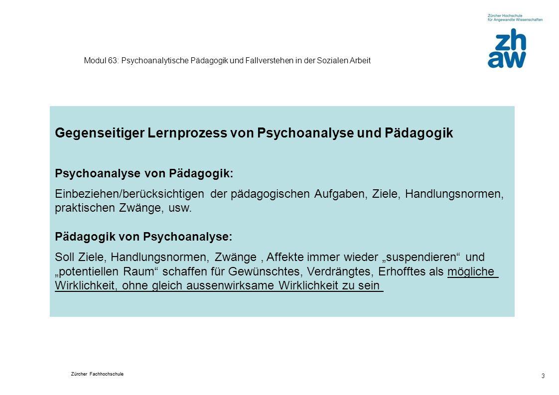 Zürcher Fachhochschule 3 Modul 63: Psychoanalytische Pädagogik und Fallverstehen in der Sozialen Arbeit Gegenseitiger Lernprozess von Psychoanalyse un