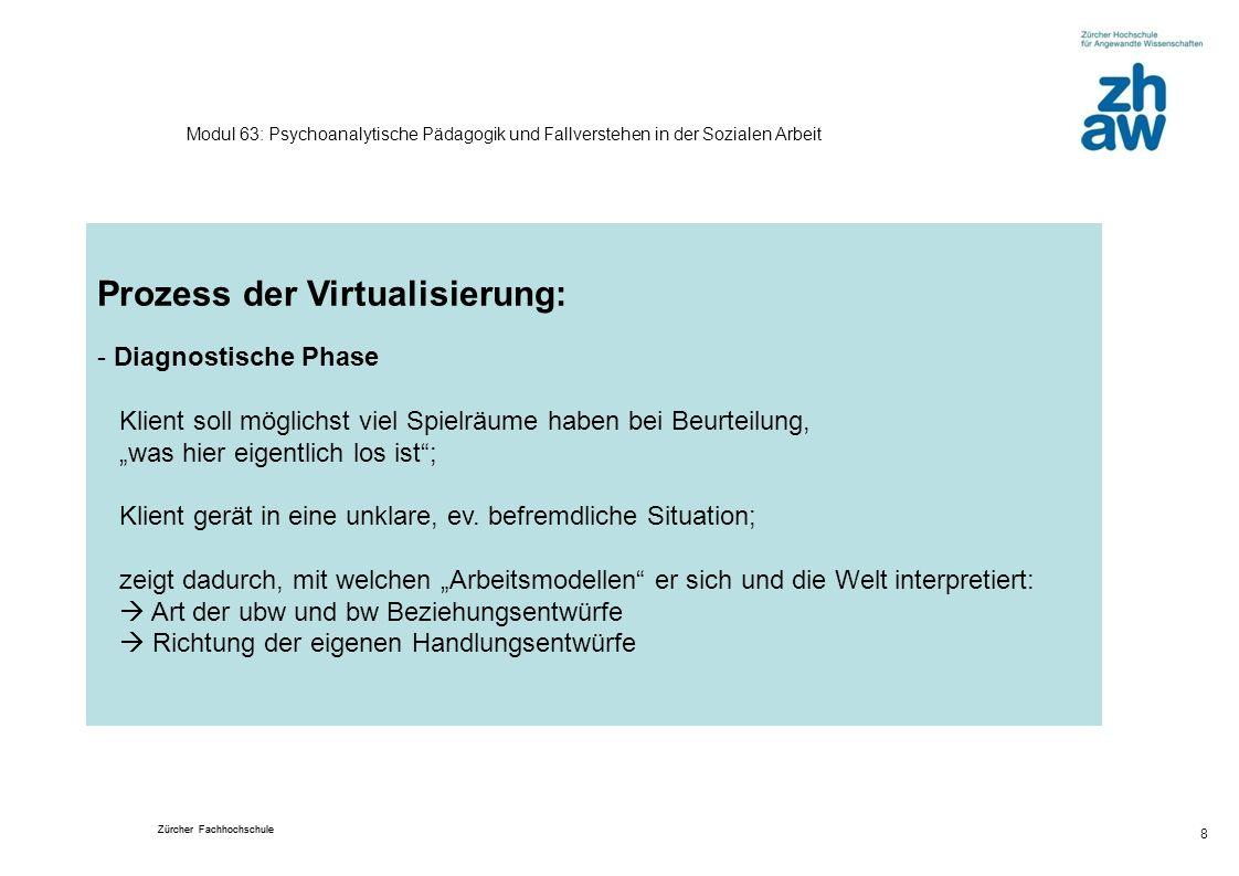 Zürcher Fachhochschule 8 Modul 63: Psychoanalytische Pädagogik und Fallverstehen in der Sozialen Arbeit Prozess der Virtualisierung: - Diagnostische P