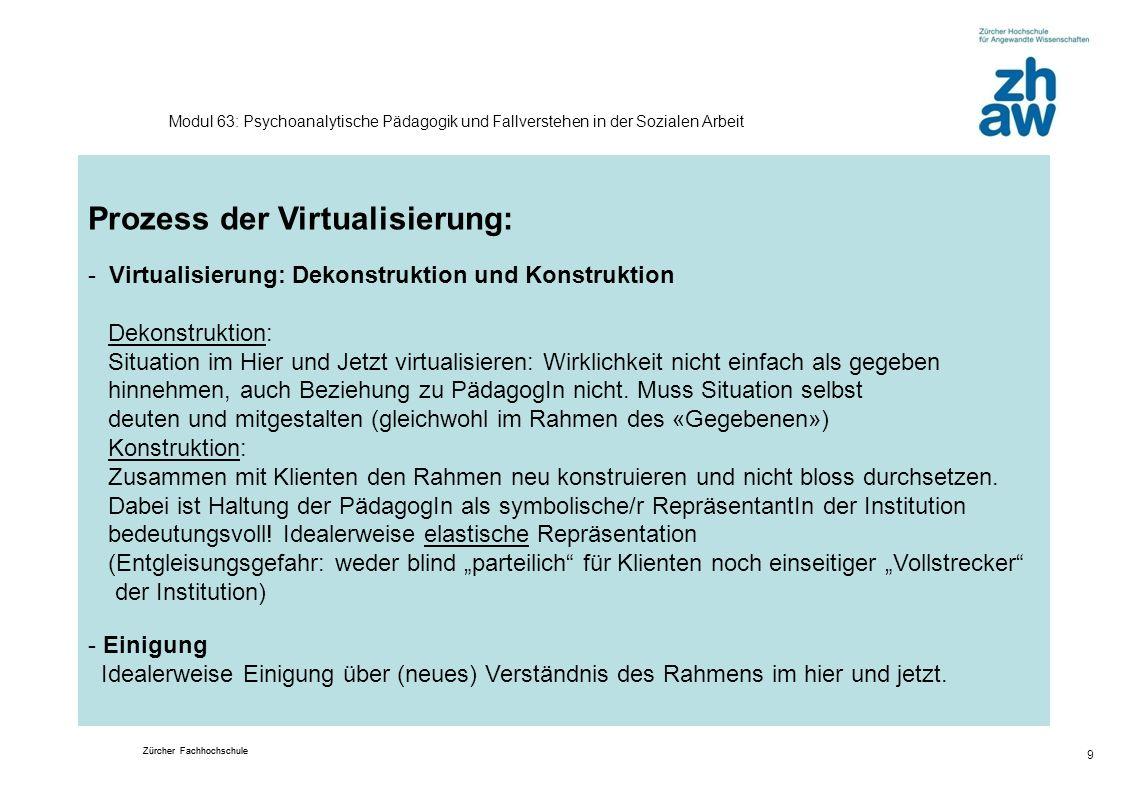 Zürcher Fachhochschule 9 Modul 63: Psychoanalytische Pädagogik und Fallverstehen in der Sozialen Arbeit Prozess der Virtualisierung: - Virtualisierung