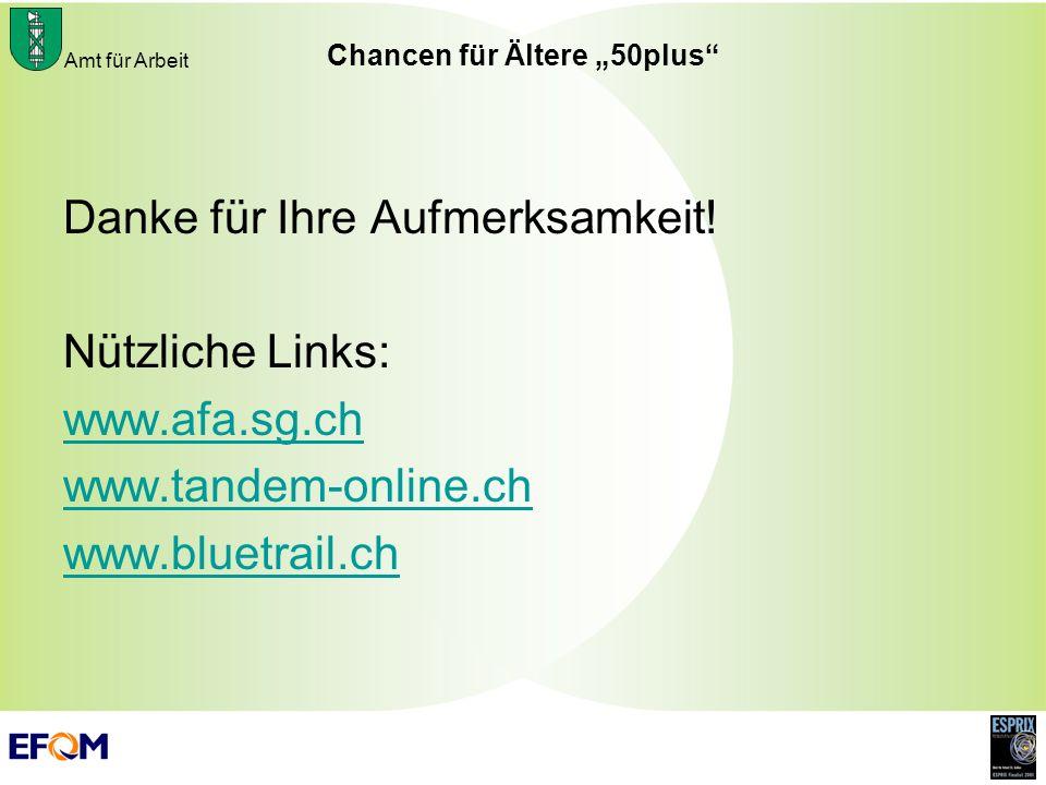 Amt für Arbeit Chancen für Ältere 50plus Danke für Ihre Aufmerksamkeit! Nützliche Links: www.afa.sg.ch www.tandem-online.ch www.bluetrail.ch