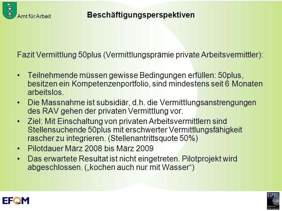 Amt für Arbeit Beschäftigungsperspektiven Fazit Vermittlung 50plus (Vermittlungsprämie private Arbeitsvermittler): Teilnehmende müssen gewisse Bedingu