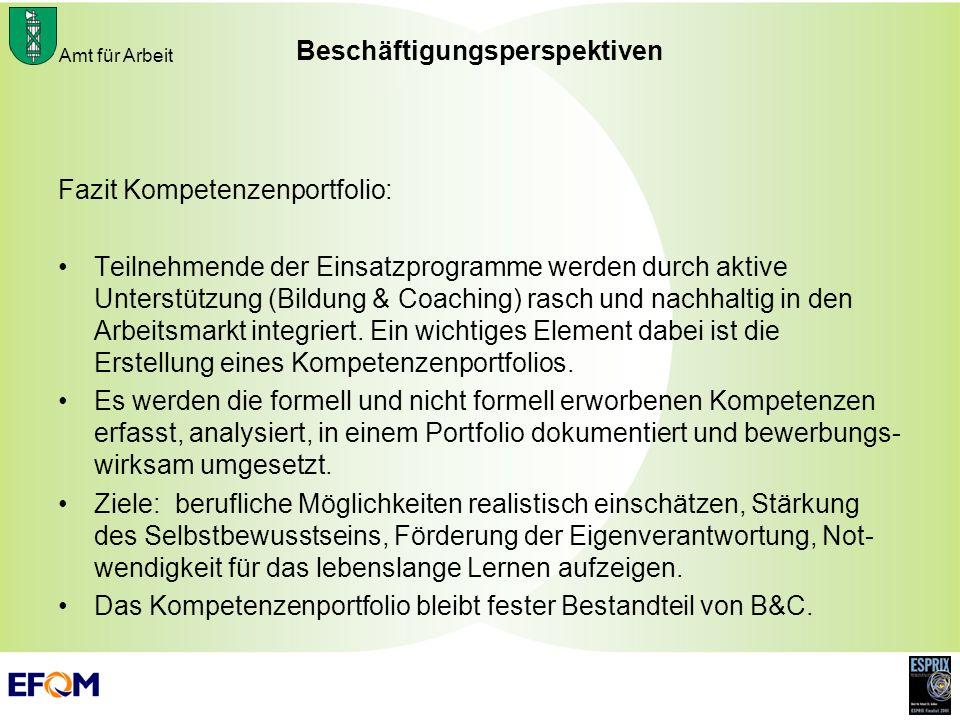 Amt für Arbeit Beschäftigungsperspektiven Fazit Kompetenzenportfolio: Teilnehmende der Einsatzprogramme werden durch aktive Unterstützung (Bildung & C