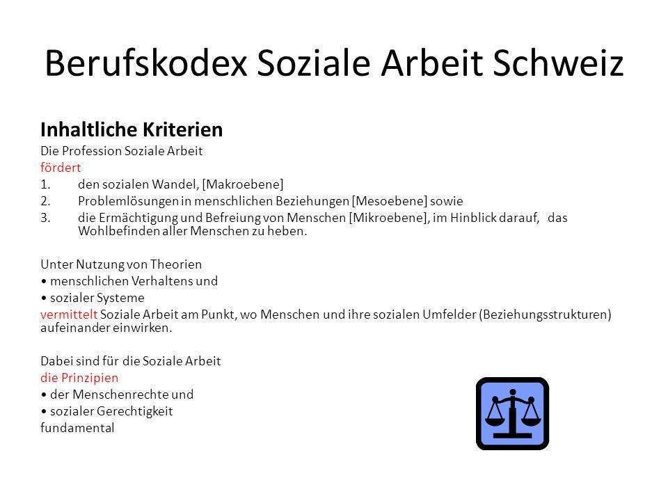 Berufskodex Soziale Arbeit Schweiz Inhaltliche Kriterien Die Profession Soziale Arbeit fördert 1.den sozialen Wandel, [Makroebene] 2.Problemlösungen i