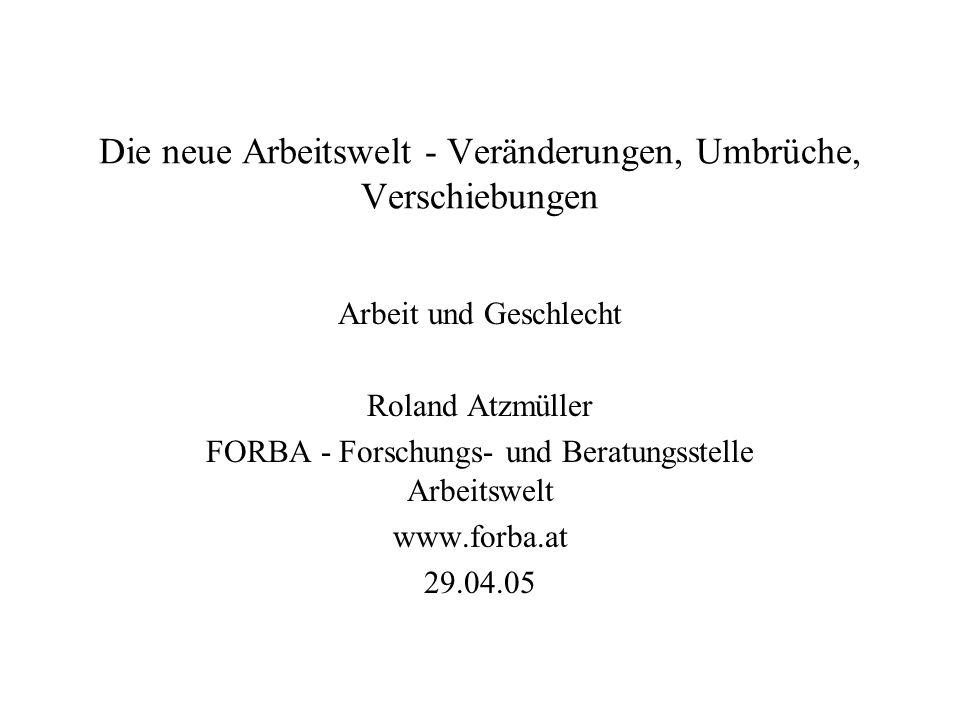 Die neue Arbeitswelt - Veränderungen, Umbrüche, Verschiebungen Arbeit und Geschlecht Roland Atzmüller FORBA - Forschungs- und Beratungsstelle Arbeitswelt www.forba.at 29.04.05