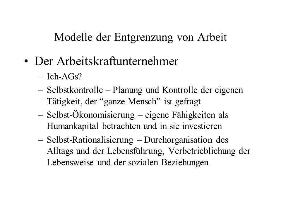 Modelle der Entgrenzung von Arbeit Der Arbeitskraftunternehmer –Ich-AGs? –Selbstkontrolle – Planung und Kontrolle der eigenen Tätigkeit, der ganze Men