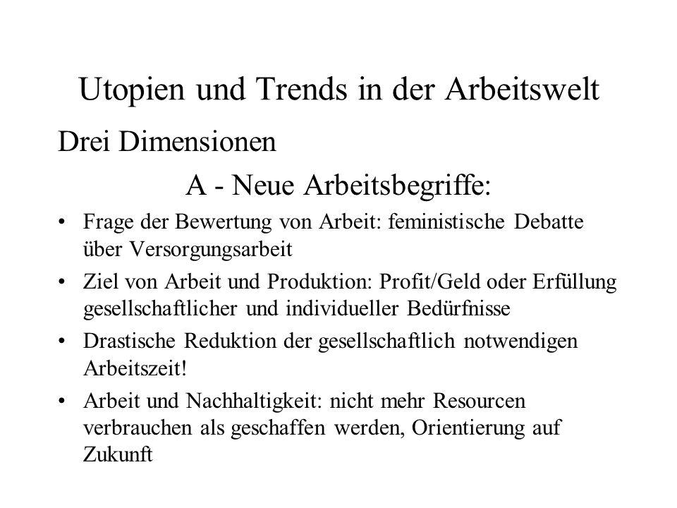 Utopien und Trends in der Arbeitswelt Drei Dimensionen A - Neue Arbeitsbegriffe: Frage der Bewertung von Arbeit: feministische Debatte über Versorgung