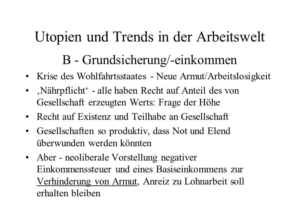 Utopien und Trends in der Arbeitswelt B - Grundsicherung/-einkommen Krise des Wohlfahrtsstaates - Neue Armut/Arbeitslosigkeit Nährpflicht - alle haben