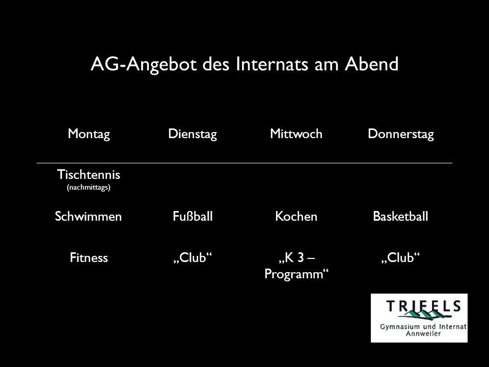 AG-Angebot des Internats am Abend MontagDienstagMittwochDonnerstag Tischtennis (nachmittags) SchwimmenFußballKochenBasketball FitnessClubK 3 – Programm Club