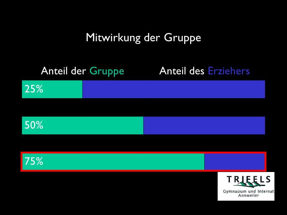 Mitwirkung der Gruppe Anteil der GruppeAnteil des Erziehers 25% 50% 75%