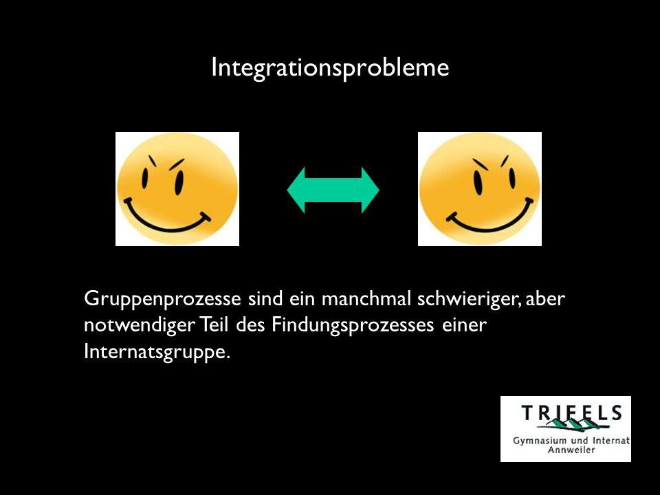 Integrationsprobleme Gruppenprozesse sind ein manchmal schwieriger, aber notwendiger Teil des Findungsprozesses einer Internatsgruppe.