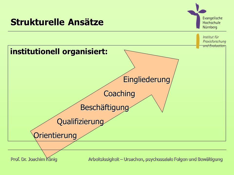 institutionell organisiert: Eingliederung EingliederungCoachingBeschäftigungQualifizierungOrientierung Strukturelle Ansätze Prof.