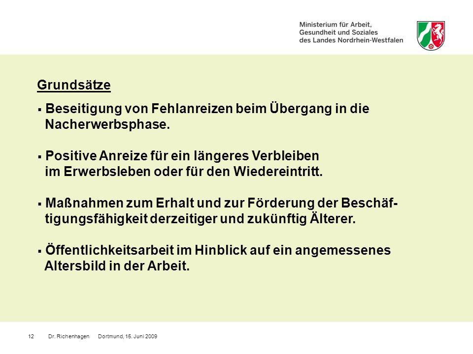 Dr. Richenhagen Dortmund, 15. Juni 200912 Beseitigung von Fehlanreizen beim Übergang in die Nacherwerbsphase. Positive Anreize für ein längeres Verble