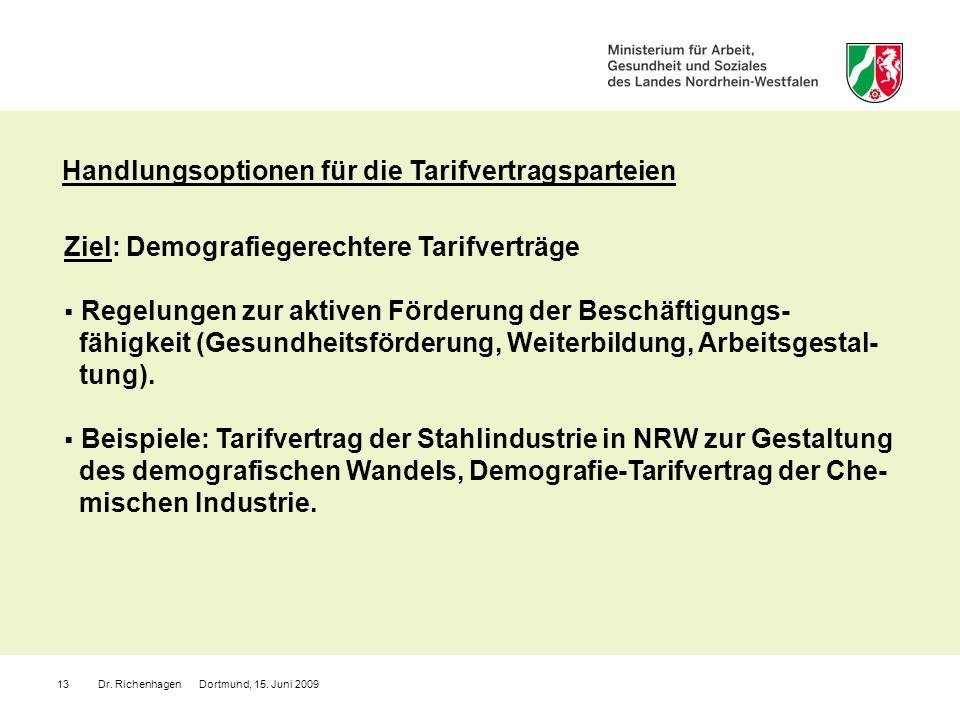 Dr. Richenhagen Dortmund, 15. Juni 200913 Ziel: Demografiegerechtere Tarifverträge Regelungen zur aktiven Förderung der Beschäftigungs- fähigkeit (Ges