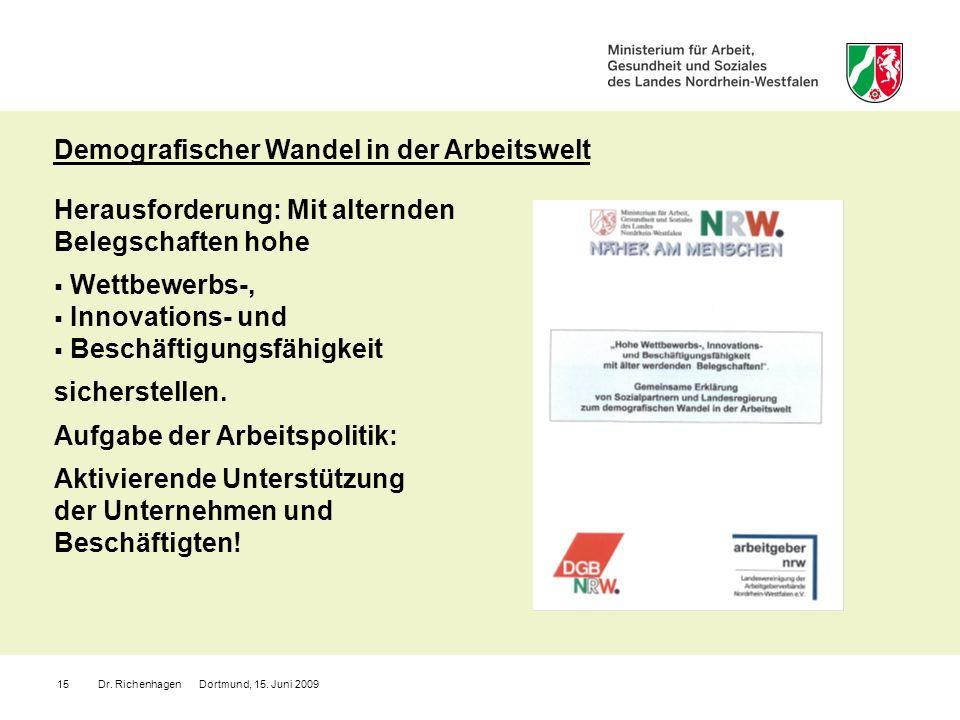 Dr. Richenhagen Dortmund, 15. Juni 200915 Herausforderung: Mit alternden Belegschaften hohe Wettbewerbs-, Innovations- und Beschäftigungsfähigkeit sic