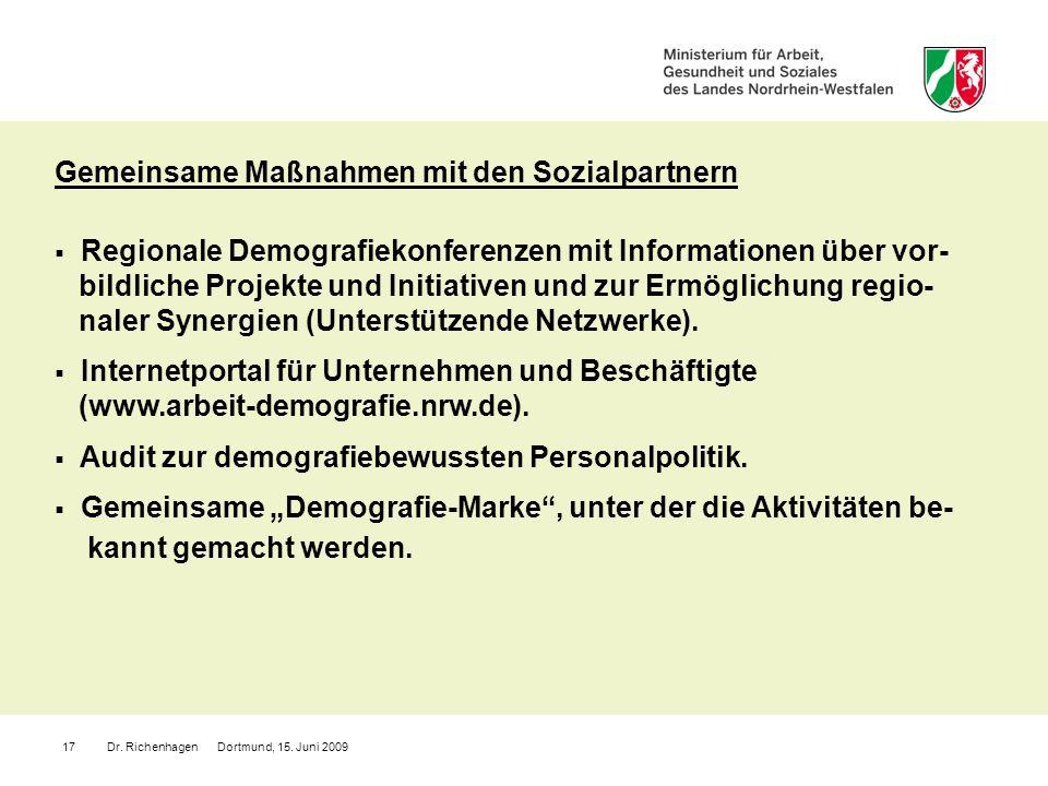 Dr. Richenhagen Dortmund, 15. Juni 200917 Gemeinsame Maßnahmen mit den Sozialpartnern Regionale Demografiekonferenzen mit Informationen über vor- bild
