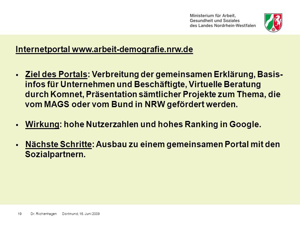 Dr. Richenhagen Dortmund, 15. Juni 200919 Internetportal www.arbeit-demografie.nrw.de Ziel des Portals: Verbreitung der gemeinsamen Erklärung, Basis-