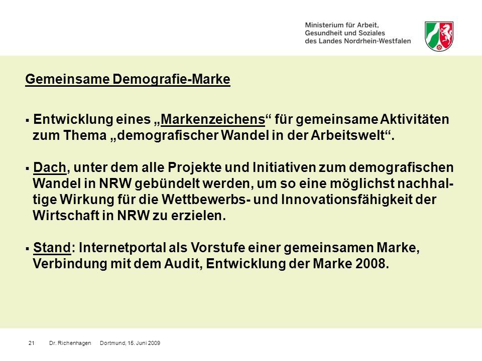 Dr. Richenhagen Dortmund, 15. Juni 200921 Gemeinsame Demografie-Marke Entwicklung eines Markenzeichens für gemeinsame Aktivitäten zum Thema demografis