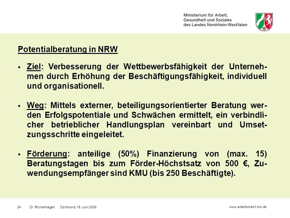 Dr. Richenhagen Dortmund, 15. Juni 200924 Potentialberatung in NRW Ziel: Verbesserung der Wettbewerbsfähigkeit der Unterneh- men durch Erhöhung der Be