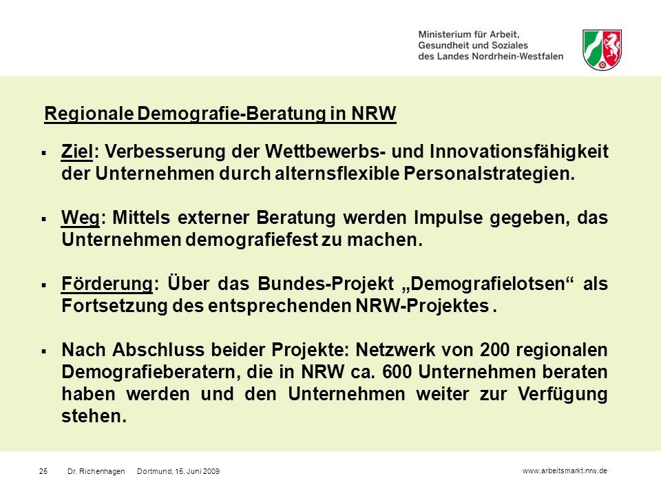 Dr. Richenhagen Dortmund, 15. Juni 200925 Regionale Demografie-Beratung in NRW Ziel: Verbesserung der Wettbewerbs- und Innovationsfähigkeit der Untern