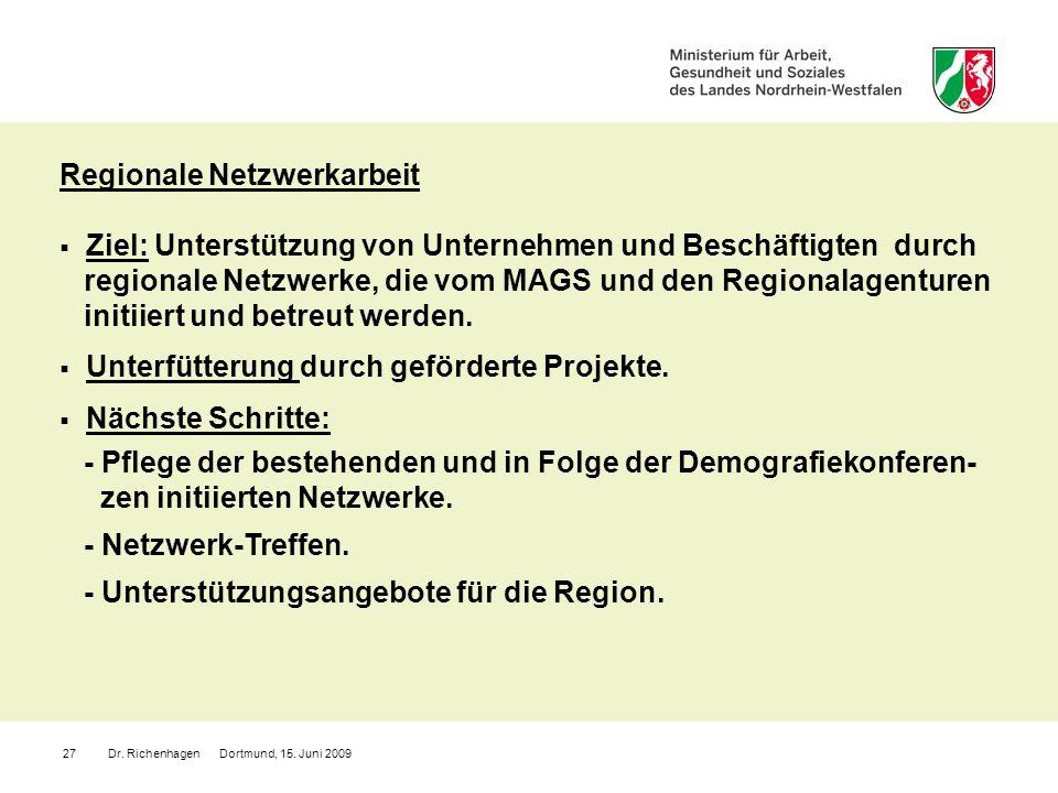 Dr. Richenhagen Dortmund, 15. Juni 200927 Regionale Netzwerkarbeit Ziel: Unterstützung von Unternehmen und Beschäftigten durch regionale Netzwerke, di