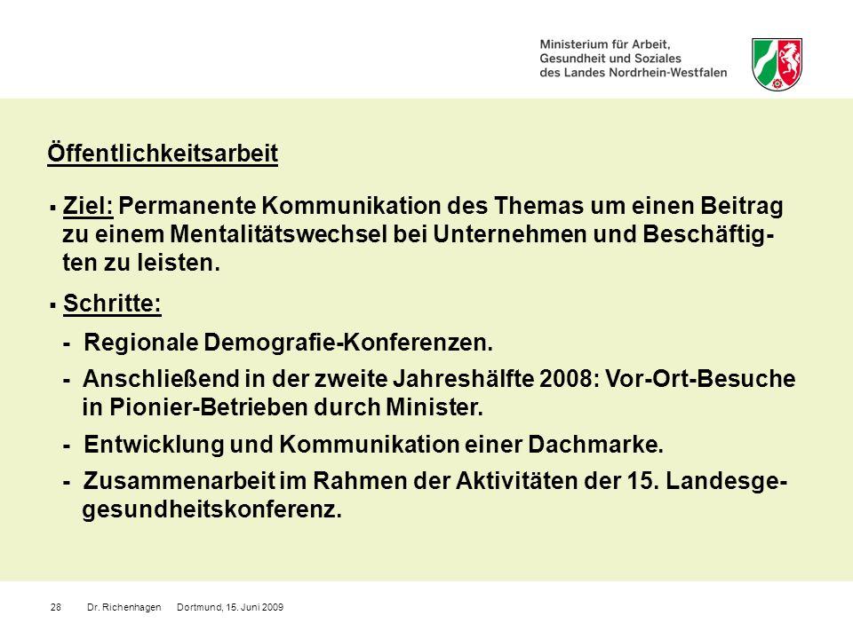 Dr. Richenhagen Dortmund, 15. Juni 200928 Öffentlichkeitsarbeit Ziel: Permanente Kommunikation des Themas um einen Beitrag zu einem Mentalitätswechsel