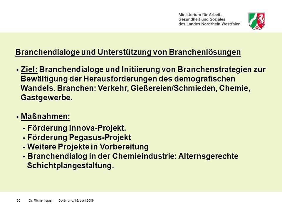 Dr. Richenhagen Dortmund, 15. Juni 200930 Branchendialoge und Unterstützung von Branchenlösungen Ziel: Branchendialoge und Initiierung von Branchenstr