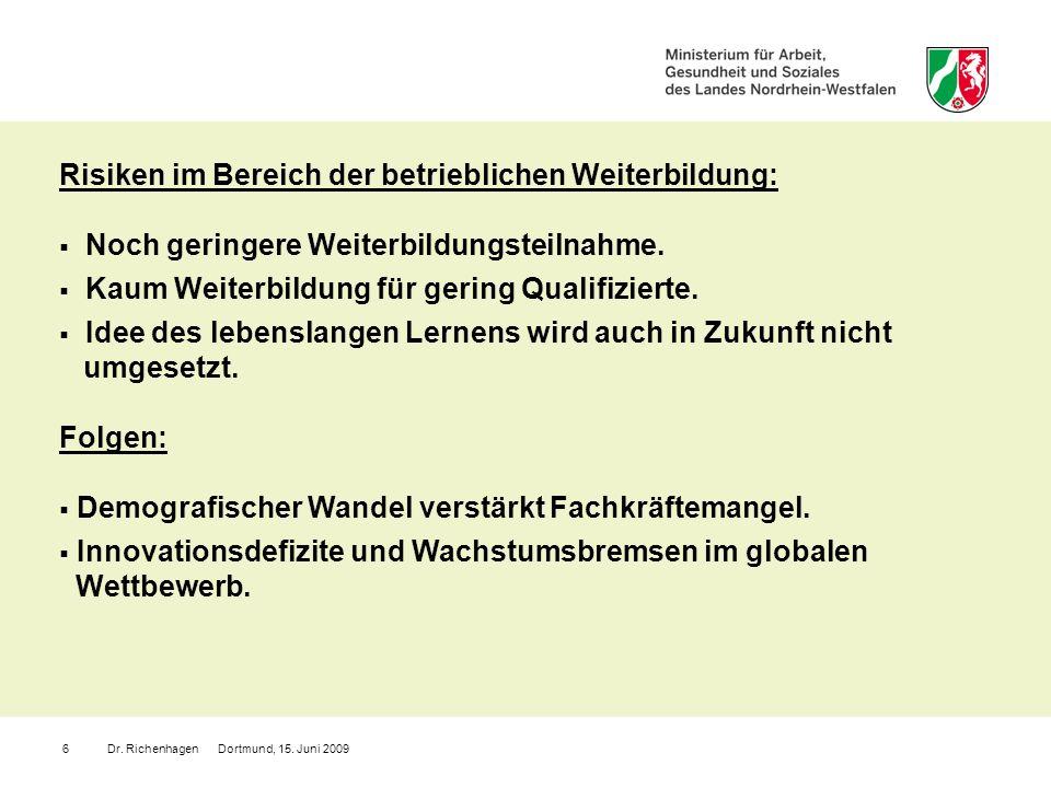 Dr. Richenhagen Dortmund, 15. Juni 20096 Noch geringere Weiterbildungsteilnahme. Kaum Weiterbildung für gering Qualifizierte. Idee des lebenslangen Le