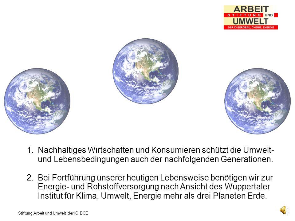 Stiftung Arbeit und Umwelt der IG BCE 1.Nachhaltiges Wirtschaften und Konsumieren schützt die Umwelt- und Lebensbedingungen auch der nachfolgenden Generationen.