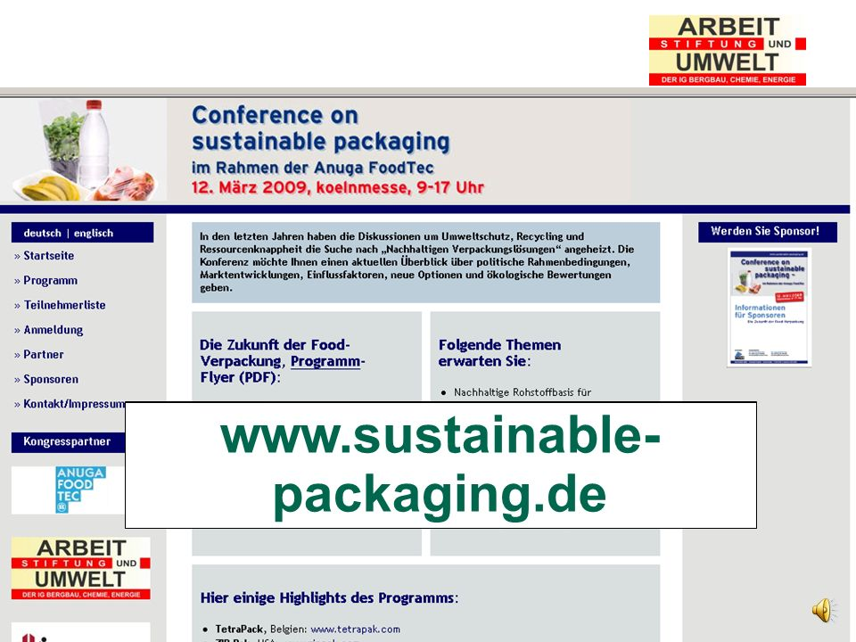 Stiftung Arbeit und Umwelt der IG BCE www.nova-institut.de www.sustainable- packaging.de