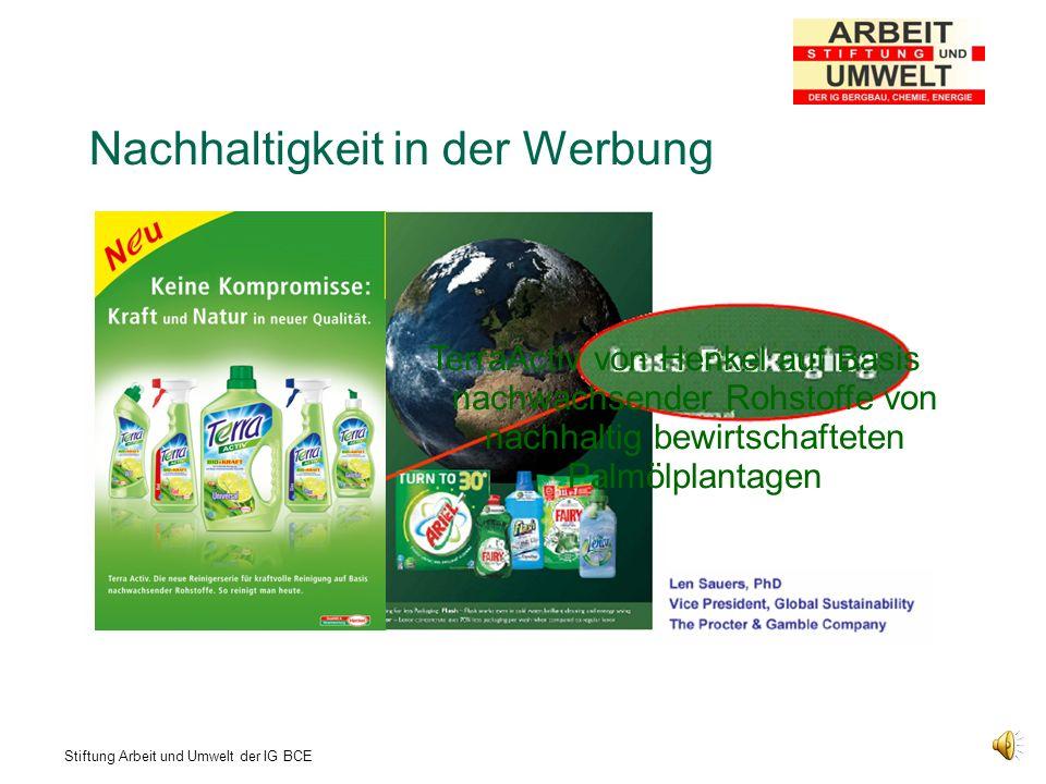 Stiftung Arbeit und Umwelt der IG BCE Nachhaltigkeit als systemischer Prozeß Nachhaltigkeit = Unternehmen + Entwicklung + Produkt + Mitbestimmung + Verpackung/Werbung Unternehmen, die Nachhaltig Wirtschaften und mit nachhaltigen Botschaften werben, sind wirtschaftlich erfolgreicher und übernehmen auf ihrem Weg nach oben andere statt selbst übernommen zu werden!