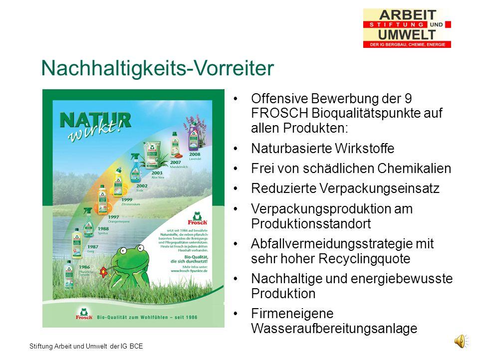Stiftung Arbeit und Umwelt der IG BCE Nachhaltigkeits-Gewinner BRAIN AG: Deutscher Umweltpreis 2008 für neuartige Wirkstoffe aus der Natur mit innovativer weißer Biotechnologie Henkel AG: Nachhaltigkeitspreis 2008 für die nachhaltigste Marke Deutschlands