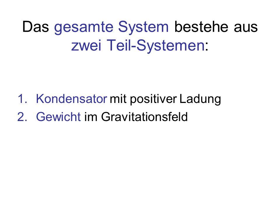 Das gesamte System bestehe aus zwei Teil-Systemen: 1.Kondensator mit positiver Ladung 2.Gewicht im Gravitationsfeld